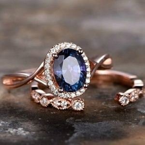 Royal Blue Sapphire Open Halo Rose Gold Ring Set